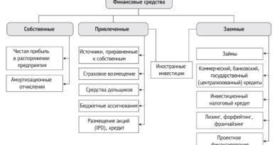 Классификация источников финансирования реальных инвестиций на предприятии