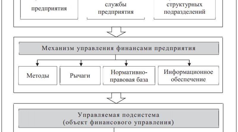 Структура системы управления финансами на предприятии